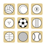 Set of sport balls for games. Flat icons, sports equipment. Royalty Free Stock Image
