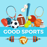 Set of sport balls and gaming items at a blue background. Healthy lifestyle tools, elements. Inscription GOOD SPORTS Royalty Free Stock Photography