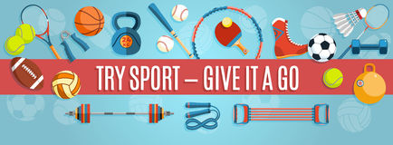 Set of sport balls and gaming items at a blue background. Healthy lifestyle tools, elements. Vector Illustration. Stock Photos