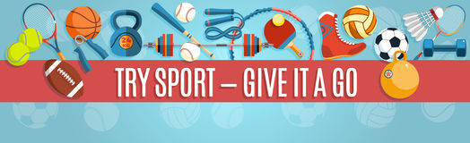 Set of sport balls and gaming items at a blue background. Healthy lifestyle tools, elements. Vector Illustration. Stock Photography