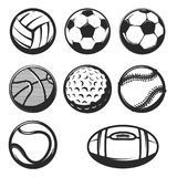 Set of sport balls icons isolated on white background. Design el. Set of sport balls icons. ball set for soccer and tennis, rugby. Basketball and football balls Stock Image