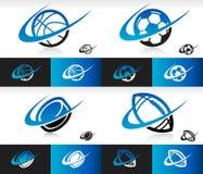 Swoosh Sport Balls Icons Royalty Free Stock Image