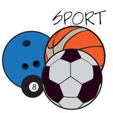 Set of sport balls. On a white background, Vector illustration Royalty Free Stock Images