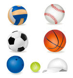 Set of sport balls and tennis cap. Royalty Free Stock Image