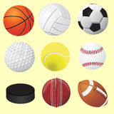 Set of sport balls, vector realistic illustration. Game element. Volley, hockey, football golf baseball Royalty Free Stock Images