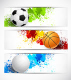 Set of sport banners. With balls Royalty Free Stock Image