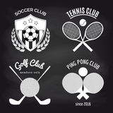 Set of sport banners on chalkboard Royalty Free Stock Images