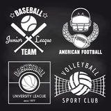 Set of sport banners on chalkbpard. Baseball volleyball basketball and american footbal banners collection. Vector illustration Stock Image