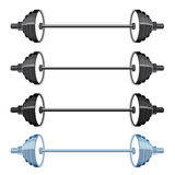 Set of sport barbells in modern flat style. Royalty Free Stock Photos