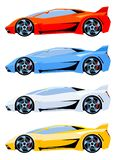 Set of sport cars side view different colors royalty free stock photography