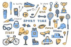 Set of sport elements with lettering. Cute doodle hand drawn vector illustration royalty free illustration