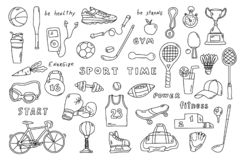 Set of sport elements with lettering. Funny doodle hand drawn vector illustration. Cute cartoon black and white collection stock photography