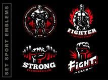 Set sport emblem on dark background. Set sport emblem illustration on dark background Stock Photos