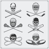 Set of sport emblems: ice hockey, lacrosse, baseball, football, cricket and snowboarding. Royalty Free Stock Photos