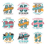 Set of sport emblems: surfing, racing, rugby. Graphic design for t-shirt. Color print on white background Royalty Free Stock Images