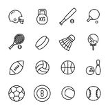 Set of sport equipment icons in modern thin line style. Stock Images
