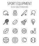 Set of sport equipment icons in modern thin line style. Royalty Free Stock Images