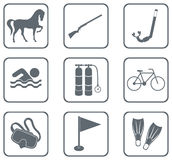 Set of sport equipment icons Stock Image