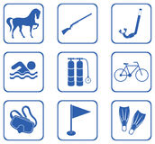 Set of sport equipment icons Stock Photography