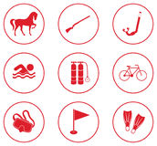 Set of sport equipment icons Stock Images