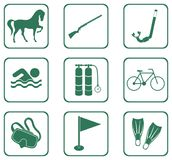 Set of sport equipment icons Stock Photos