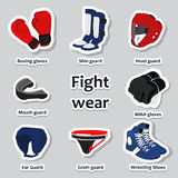 Set of sport equipment for martial arts Royalty Free Stock Images