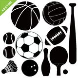 Sport equipment silhouettes vector Stock Image
