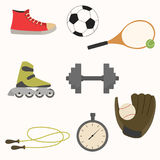 Set of sport equipment in simple design. Vector illustration. Set of sport equipment in simple design. Rollers, baseball glove, dumbbells, racket, soccer ball vector illustration