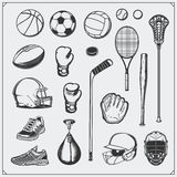 Set of Sport equipment. Soccer, football, lacrosse, basketball, baseball, hockey and tennis. Stock Photos