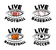 Set of sport event icons for live football, baseball, basketball Stock Photo
