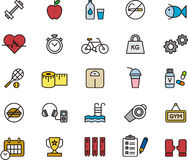 Set of sport and fitness icons. Illustrated set of icons related to sport, fitness, health and personal care on a white background Royalty Free Stock Photos