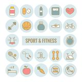 Set of sport and fitness vector outline icons. Modern flat sport and fitness icons for web, print, mobile apps design Stock Images
