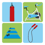 Set Of Sport And Gym Elements Stock Photos