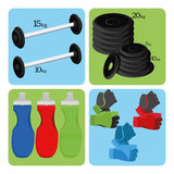 Set Of Sport And Gym Elements Royalty Free Stock Photography