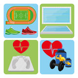 Set Of Sport And Gym Elements Royalty Free Stock Images