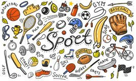 Set of sport icons doodle style. Equipment for fitness and training. Symbols of health and activity. Tennis and football stock illustration