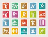 Set of sport icons in flat design with shadows Stock Image