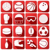 Set of sport icons in flat design. Set of square sport icons with long shadows in flat design. Vector Illustration Royalty Free Stock Photo