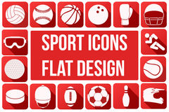 Set of sport icons in flat design. Set of square sport icons with long shadows in flat design. Vector Illustration Stock Image