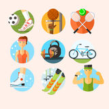 Set of Sport Icons in Flat Design Vector Stock Images