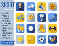 Set of sport icons. Flat style design with long Royalty Free Stock Photo