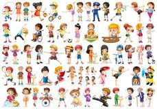 Set of sport kids stock illustration