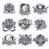 Set of sport logos. Set of black and white sport club logos isolated vector illustration Royalty Free Stock Image