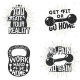 Set of sport logos, gym label. S, inspirational and motivational typography badges with popular inspirational quotes Royalty Free Stock Photo