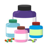 Set sport Nutrition Supplement containers  illustration. S. Upplements for bodybuilding Stock Photos