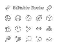 Set sport piłki, hobby, rozrywka wektoru linii ikony Ja zawiera symbole futbol, koszykówka, rzuca kulą ilustracji