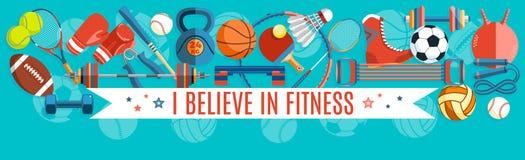 Set sport piłki i hazard rzeczy przy turkusowym tłem Zdrowi stylów życia narzędzia, elementy również zwrócić corel ilustracji wek Obraz Stock