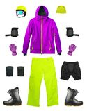 Set of sport ski clothes isolated. Set of sport ski clothes and equipment isolated on white background. Bright color snowboard gears stock photography