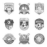 Set of Sport Team Logo for Four Sport Disciplines. Set of retro styled sport team logo templates. Soccer, football, baseball, basketball labels with sample text Royalty Free Stock Images