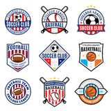 Set of Sport Team Logo for Four Sport Disciplines Royalty Free Stock Photos